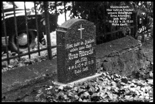 Grab von ALBRECHT, Erna (geb. Miltz) - Friedhof Tutow wurde aufgelöst.  (Datum der Aufnahme unbekannt)  - grave of ALBRECHT, Erna (born Miltz)