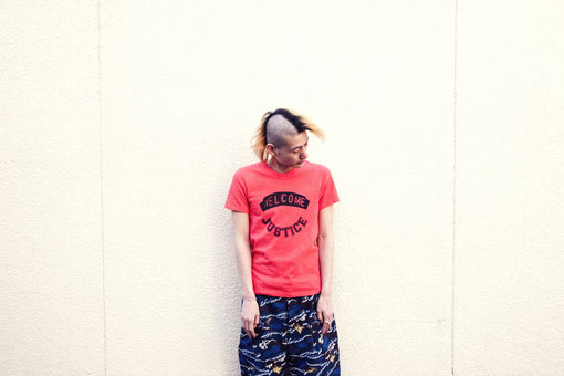 "/e T-SHIRT ""WELCOME JUSTICE / SEAWEED CAMO HALF BIG PANT"