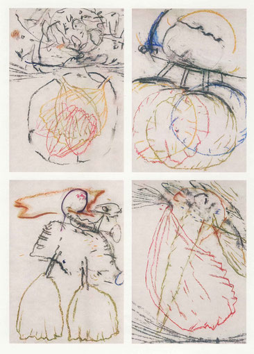 Steppenläufer, 4 Arbeiten, Mischtechnik auf Papier, 2000