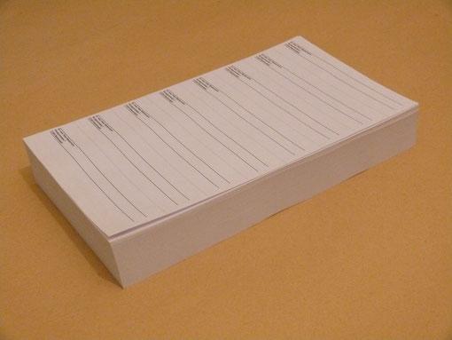 Scribor mit Text / 500 Bogen / 4000 Streifen
