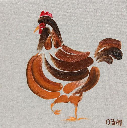 Poule 5, huile sur toile 20 x 20, 2010 (vendu)