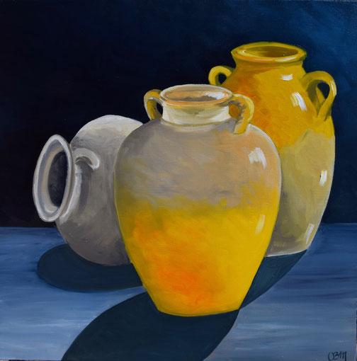Poteries jaunes, huile sur toile 60X60, 2017