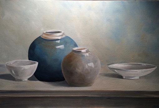 faiences, huile sur toile 65X81, 2017