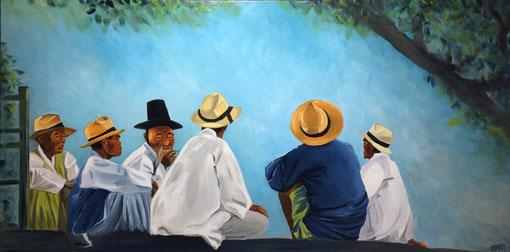 Discussion à l'ombre, huile sur toile 60X120, 2017