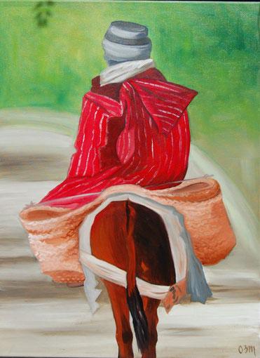 La djellaba rouge, huile sur toile 54 x 65, 2010