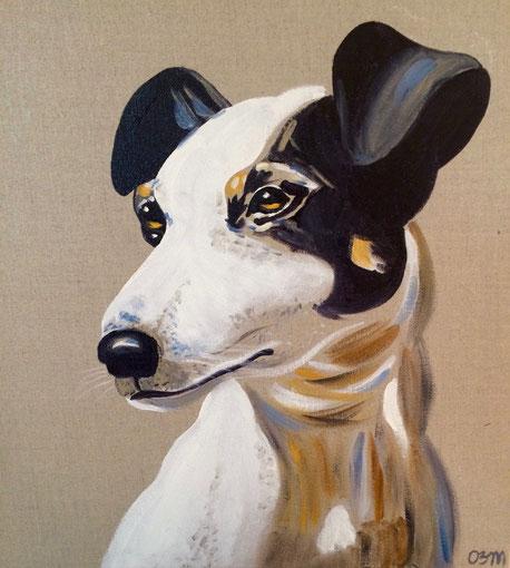 Jack Russel, huile sur toile de lin brut, 40X40, 2016