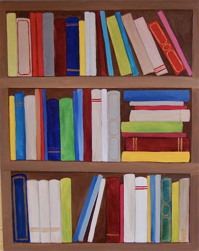 Bibliothèque, huile sur toile , 2011 (vendu )