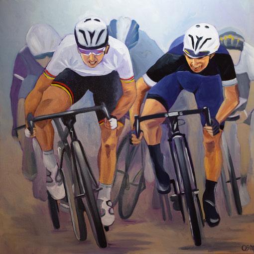 Les cyclistes, huile sur toile 80x80, 2016