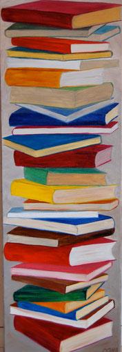 Pile de livres, huile sur toile 30 x90, 2011