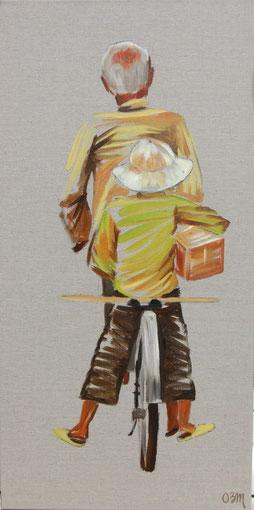 Le vélo , huile sur lin brut 40 x 80, 2010 (vendu)