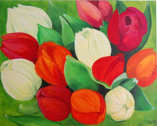Tulipes, huile sur toile, 2010