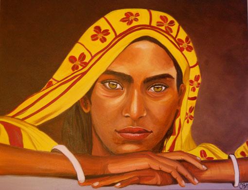 indienne en sari jaune, huile sur toile 92 X 73, 2011 (vendu)