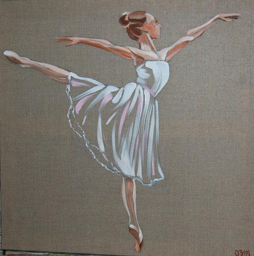 Danseuse, huile sur lin brut 60 x 60, 2011
