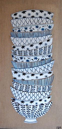 Pile de bols japonais, huile sur toile 40 x 80, 2011