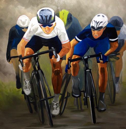 Les cyclistes 2, huile sur toile 80x80, 2017