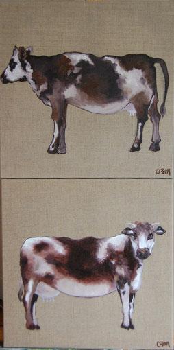 Vaches, huile sur toile 40 x 40 chacune, 2010
