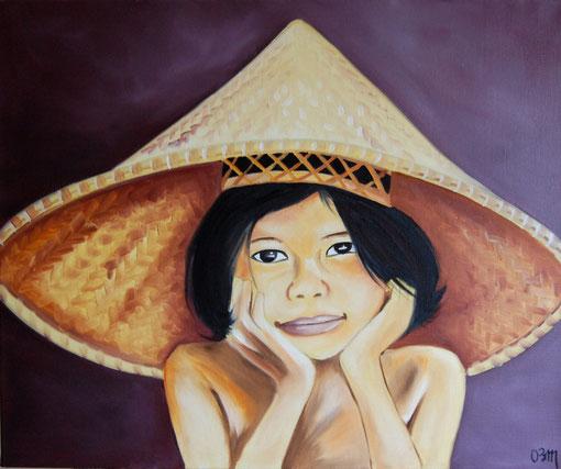 fillette asiatique, huile sur toile 54 x65, 2011