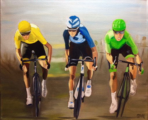 le trio, huile sur toile 54 X 65, 2017
