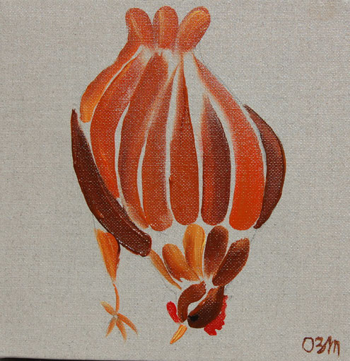 Poule 1, huile sur toile 20 x 20, 2010 (vendu)