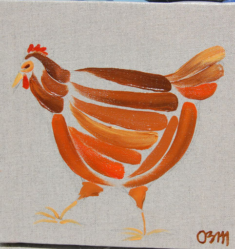Poule 2, huile sur toile 20 x 20, 2010 (vendu)