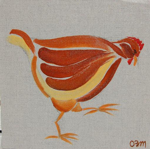 Poule 4, huile sur toile 20 x 20, 2010 (vendu)
