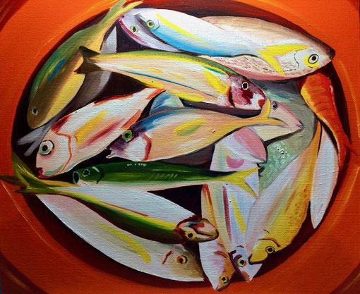 poissons, huile sur toile 65X73, 2016, (vendu)