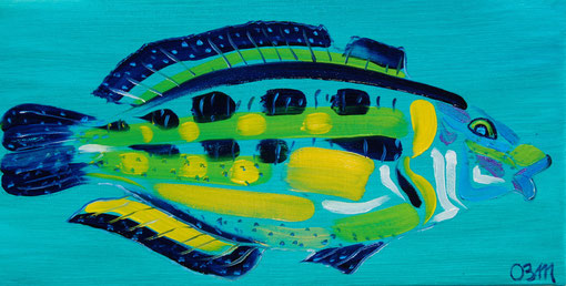 Poisson jaune sur turquoise, huile sur toile 20 x 30, 2010