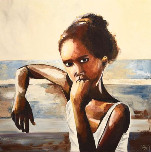fillette observant, huile sur toile 60x60, 2016