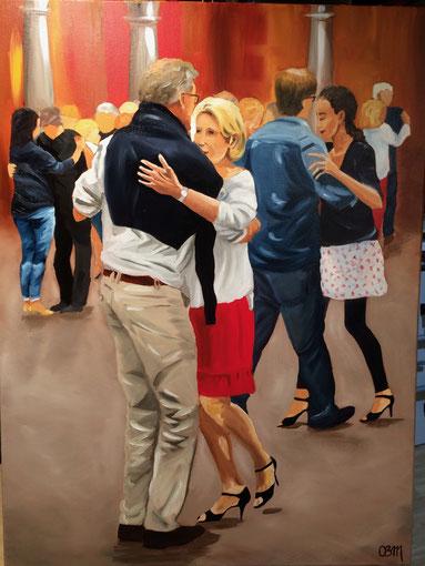 Les danseurs de la vieille Bourse, huile sur toile 65 x 73, 2017