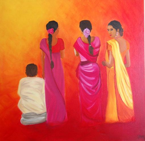 Les indiennes, huile sur toile 80x80, 2010 (vendu )