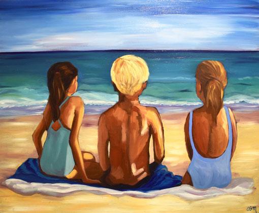 Fin de journée de plage, huile sur toile , 2016
