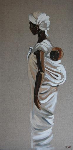 Africaine à l'enfant, huile sur lin brut 40 x 80, 2011 (vendu)