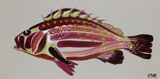 Poisson violet, huile sur toile 30 x 60, 2010