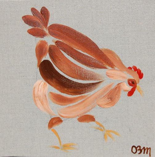 Poule 3, huile sur toile 20 x 20, 2010 (vendu)