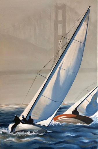 Sailing, huile sur toile 2017 (vendu )