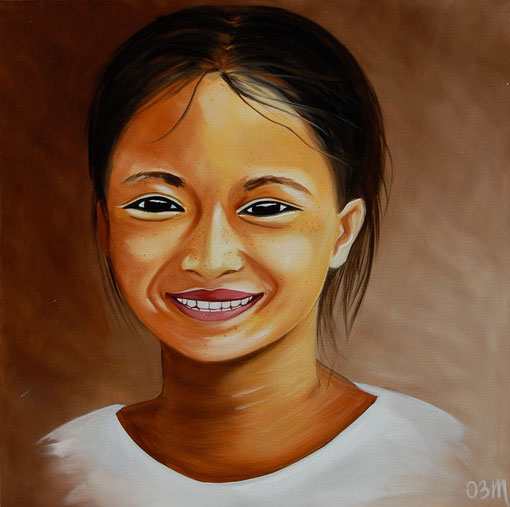 un sourire, huile sur toile 60 x 60, 2011