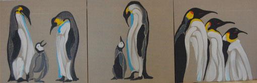 Pingouins, série de 3 huiles sur toile 40 x 40, 2011 (vendus)