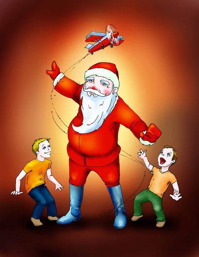 иллюстрация дед мороз и дети