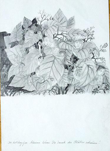 Die helläugigen kleinen Wesen, die durch die Blätter schauen