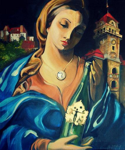Tribute to the city of Leibnitz 60x50-acryl-on-canvas DIE SÜDSTEIRISCHE MADONNA