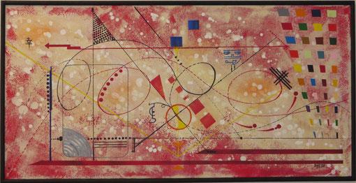 vers le bonheur. tableau. abstrait. abstraction