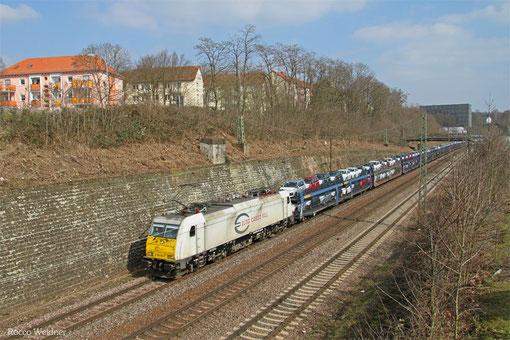 ECR 186 165 mit GA 42692 (Trnava/SK) Saarbrücken Rbf Nord - Forbach/F (Gevrey Triage) (Sdl.PKW), Saarbrücken 13.03.2015