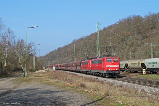 DT 151 143 + 151 079 (RBH 264 + 271) mit GM 60499 Oberhausen West Orw - Neunkirchen(Saar) Hbf (Kohle, Schiebelok 186 336), Luisenthal(Saar) 13.03.15