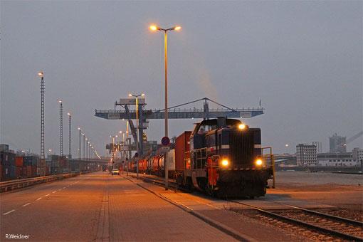 Rhenus Rail Lok 40 (212 903) mit Containerzug, Mannheim Handelshafen 19.02.2015