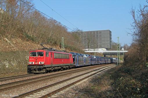 155 010 mit GA 62189 Saarbrücken Rbf West - Dillingen Ford (Sdl.Autowagen), Saarbrücken 20.03.2015