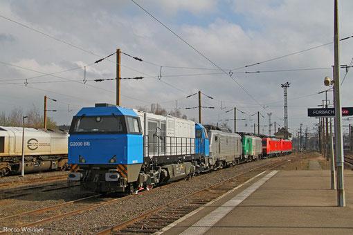 Sonntagsabstellung in Forbach/F, 0002 024 von Colas Rail, AKIEM BB37055, FRET BB37009, 185 ... und 186 333