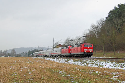 DT 181 215 + 181 213 mit IC 2358 Frankfurt/M Hbf - Saarbrücken Hbf, 09.02.2015