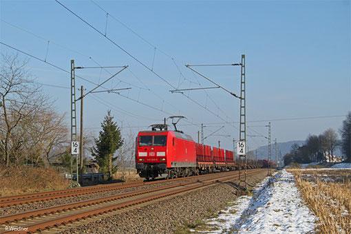 145 010 mit EZ 51908 Mannheim Rbf Gr.G - Saarbrücken Rbf Nord (EV), Vogelbach 07.02.2015
