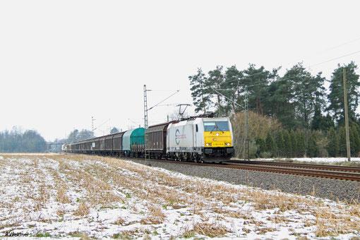 ECR 186 315 mit EZ 44405 Irun/E - Mannheim Rbf Gr.M (Railnet France), Vogelbach 06.02.2015