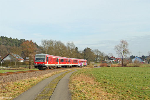 628 476 + 628 471 als RB 12872 Kaiserslautern Hbf - Kusel, Miesenbach 03.02.2015